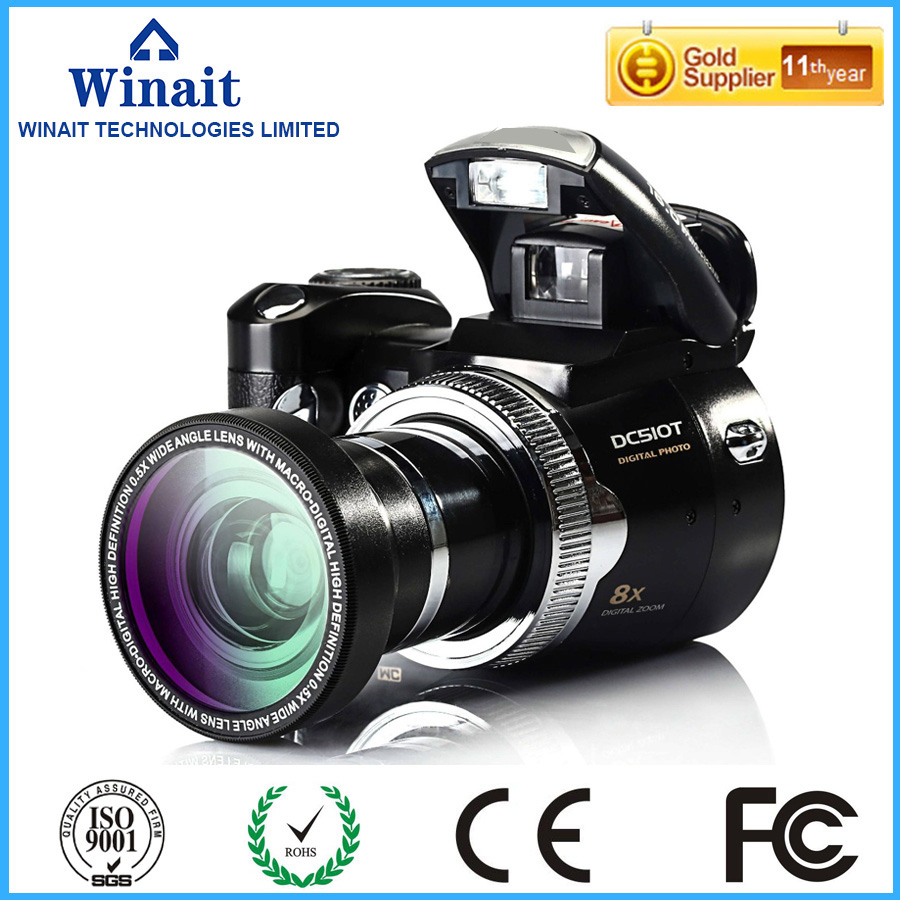 16MP Professional dslr camera with 8x digital zoom freeshipping DC-510T slr camera with flashlight Telescopic Lens DV camera