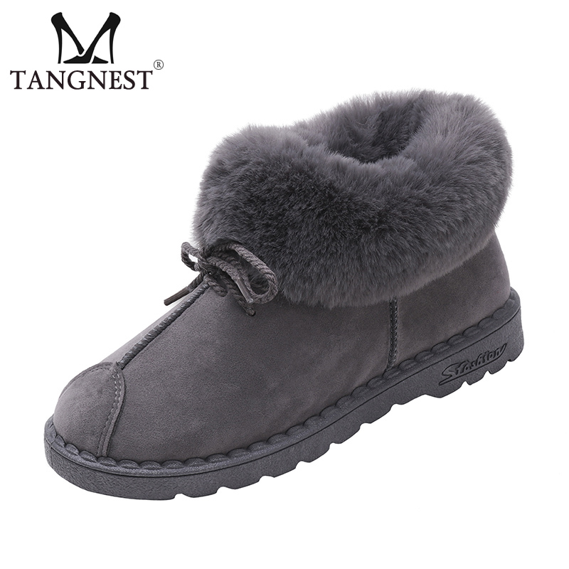 Tangnest 2018 New Warm Winter Snow Boots Flock Inside Women Ankle Boots Slip On Flats Casual Shoes Woman 4 Colors XWX6950 2018 classic design flock winter snow boots women anti slip lady flats snow shoes black