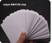 Free Shipping 100 PCS/Lot rfid  125Khz EM4100 Chip Blank ID Inkjet Card Printable By Epson /Canon Printer with Card Tray