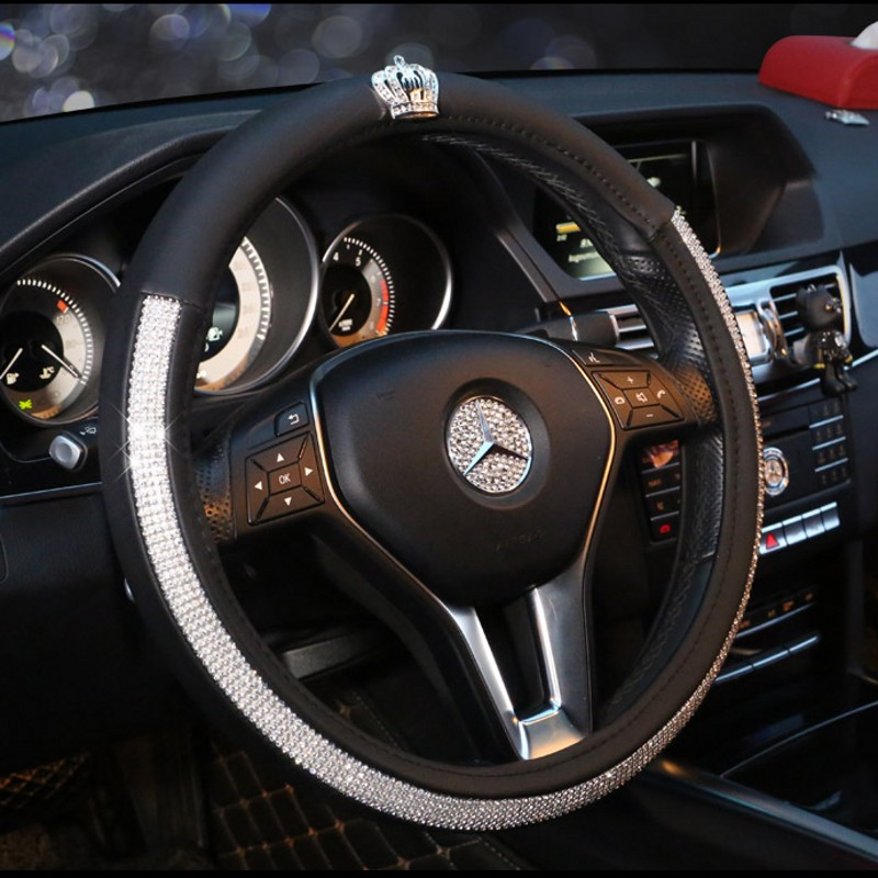 Crown Series Car Steering Wheel Cover Leather Crystal Rhinestone covered Steering-Wheel Covers Women Girls Interior Accessories vintage leather steering wheel cover flower printing women s car steering wheel covers for girls car steering accessories