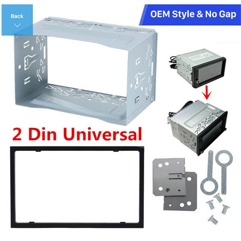 หน่วย 2 DIN กรงวิทยุรถกรณีรถติดตั้งเครื่องเล่น DVD ติดตั้งแผ่นเหล็กกรอบพลาสติกแผงฮาร์ดแวร์อุป...
