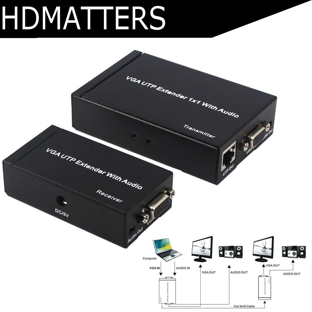 Jusqu'à 300 m VGA extender audio et vidéo VGA UTP Extender Splitter 1X1 avec VGA boucle sur pour PC portable projecteur