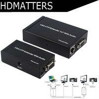 Up to 300M VGA extender audio&video VGA UTP Extender Splitter 1X1 with VGA loop out for PC laptop projector