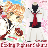 [BANCO] + Luvas Anime Card Captor Sakura Disfarçar Marinheiro Escola Cosplay Uniforme costumes Role Play Lutador De Boxe para mulheres