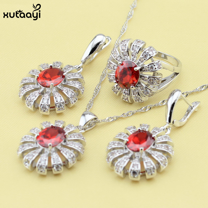 Distinctive Flower Silver Color Jewelry Sets Red synthetic Garnet Classy Wedding Necklace/Rings/Earrings Sets For women