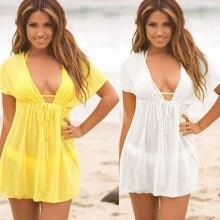 Сексуальные женские свободные пляжные саронги одежда кружева прикрыть без рукавов бикини глубокий v-образный вырез женский купальный костюм прикрывает пляжное платье-туника
