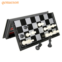 Nya Folding Magnetic Board Games Plast Chess & Checkers Backgammon 3 i 1 Chess Set Med Chessboard Och Chess Pieces qenueson