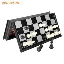 Nuovi giochi di carte magnetiche pieghevoli Scacchi e pedine di plastica Backgammon 3 in 1 Set di scacchi con scacchiera e pezzi degli scacchi qenueson