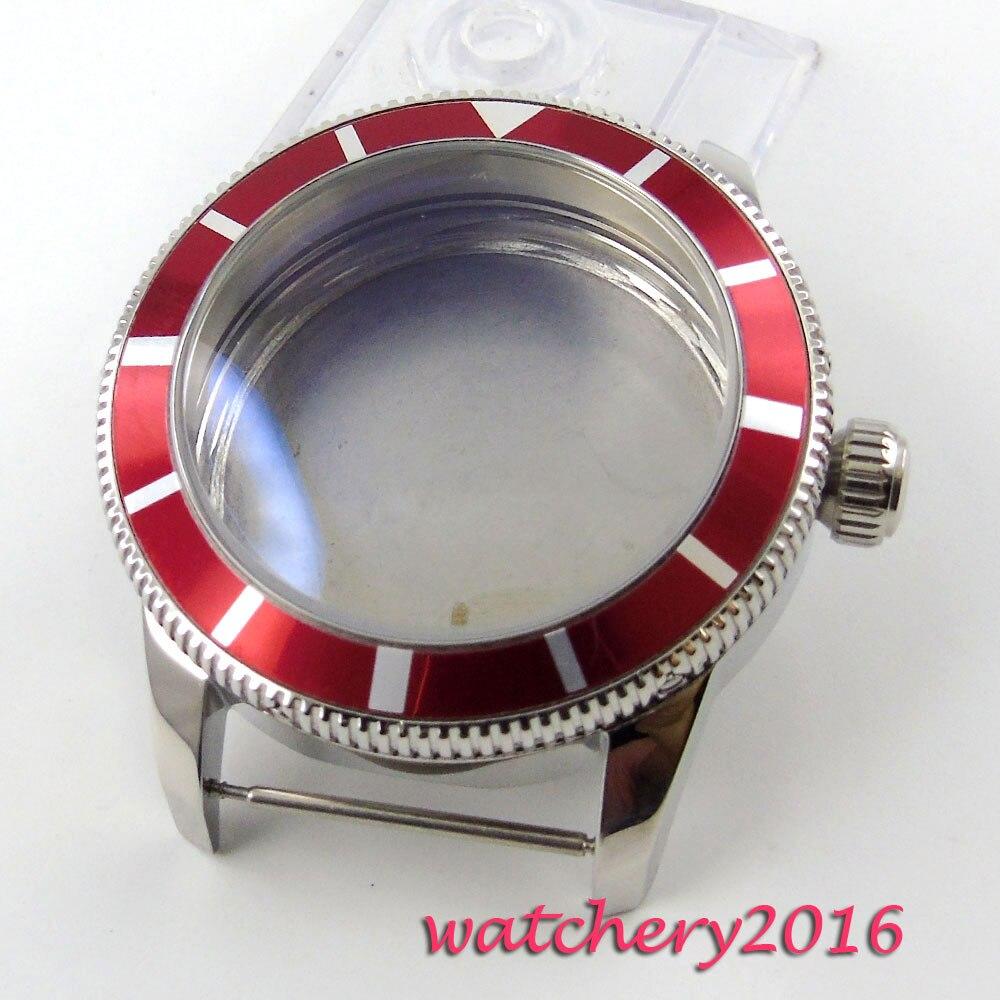 Nouveau 46mm 316L en acier inoxydable fit ETA 2836 8215 mouvement rouge lunette montre pour hommes