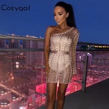 COSYGAL Hollow Out Summer Sexy Dress Women One Shoulder High Waist Mini Dress Party Clubwear Waist Belt Dress Vestidos 2018