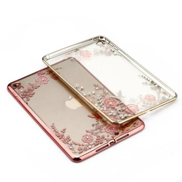 For Coque iPad Mini 4 Case Slim Soft TPU Plating Frame Secret Garden with Diamond Case for iPad Mini Mini 4 Back Cover