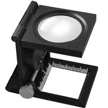 10X Magnifier Desktop Optical Len Magnifying Glass with Fabrics Measure Scale Sewing Thread Counter and 2 LED Light