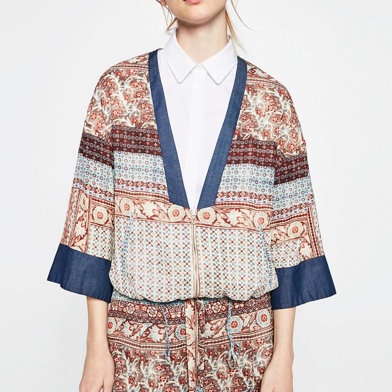 Gasa de las mujeres del Otoño Abrigo Chaquetas de Ucrania Kimono cordón Chaqueta