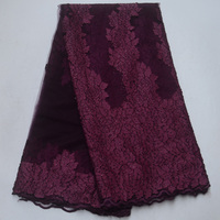 (5yards/pc) best quality French net lace fabric plum purple African tulle lace fabric with laser cut embroidery and stone FLP940