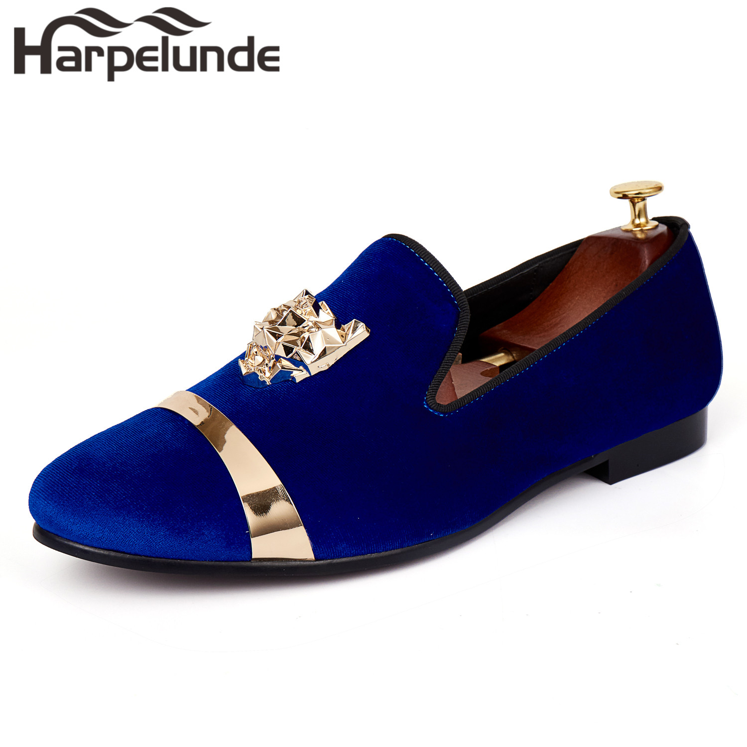 Harpelunde Men Flat Shoes Animal Buckle Blue Velvet Dress Loafers Dengan Plat Emas Ukuran 6-14