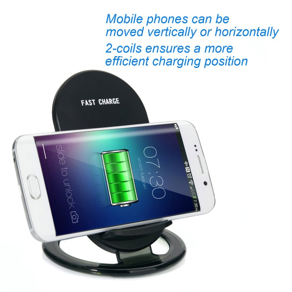 Universal N900 Wireless Fast Charger Stand Holder With LED Indicator Light 2-Coils 15W Fast Charging Pad Stand