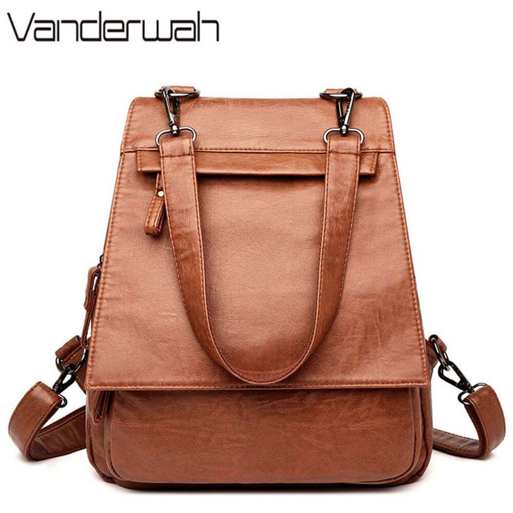 55e4c0533cd4 2019 3-in-1 Women Leather Backpack For Teenage Girls Female Vintage  Shoulder Bag