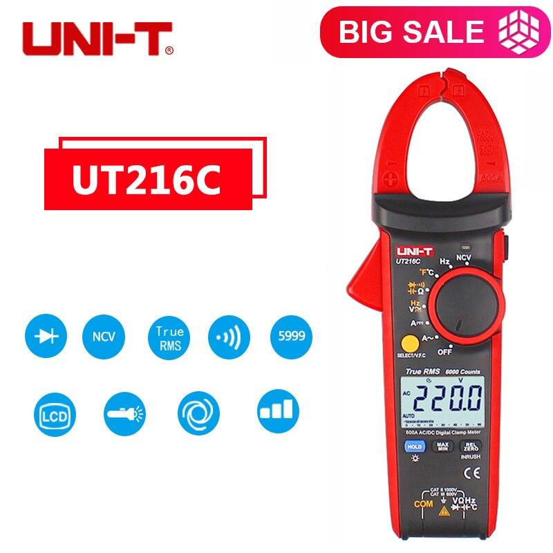 UNI-T UT216C 600A Frequency Capacitance Temperature&NCV Test UT216C 600A Digital Clamp Meters UT216C Clamp Meter True RMS ulyde uni t ut202a ac clamp meter 600a