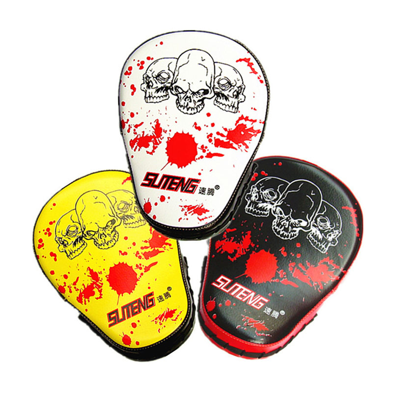 SUTENG Professional PU Leather Boxing Target Skeleton Head Large Arc-shaped Hand Target MMA Punch Pad Sanda Training Gloves Thai