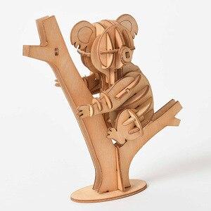 Image 4 - Laser Schneiden DIY Tier Katze Hund Panda Spielzeug 3D Holz Puzzle Spielzeug Montage Modell Holz Handwerk Kits Schreibtisch Dekoration für kinder Kid