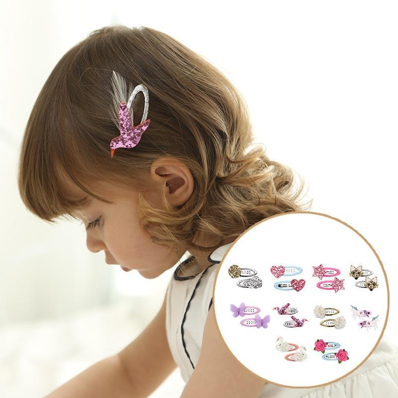 2 PCS New Design Cute Flower Bird Girls Hair Accessories Kids Hairpins Children Headwear Baby Clips Headdress Princess BB Clips