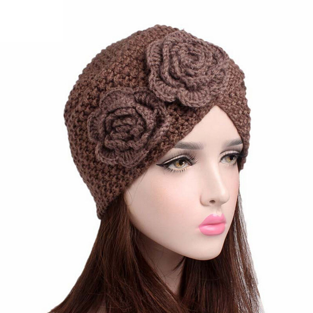 Floral crossed knitted hats winter warm hat ladies turban hat solid color soft knitted wool beanie hat chapeu#951