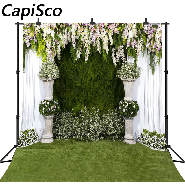 CapiSco photographic background White grass flowers to celebrate the wedding backdrop photocall professional customize