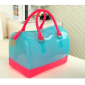 The new silicone bag, single shoulder bag, candy color jelly bag bucket bag
