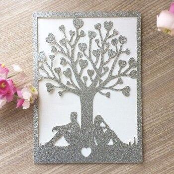 40Pcs/Lot Laser Cut Two People Under The Tree Design Invitation Card Romantic Wedding Invitations Greeting Card