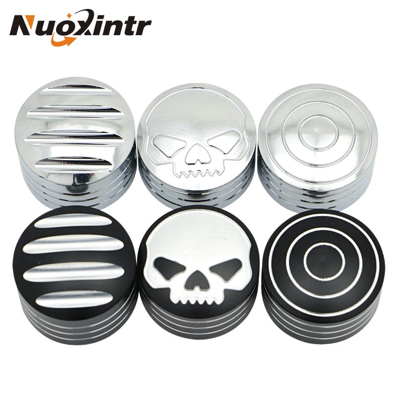 Nuoxintr Motorcycle Skull Bolts Toppers Caps Cover Screws Edge Cut For Harley Sportster XL883 XL1200 X48 Dyna Fat Boy Cam