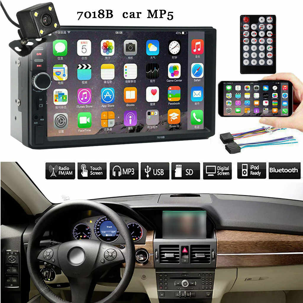 Mobil Audio Player 7 Inch Double 2 DIN Layar Mobil MP5 Pemain Bluetooth Stereo FM Radio + Kamera Cadangan May14