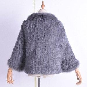 Image 3 - Kış kadın gerçek tavşan kürk örme tilki yaka ceket eğlence zamanı saf renk kürk ceket kadın moda kürk örgü yarasa gömlek
