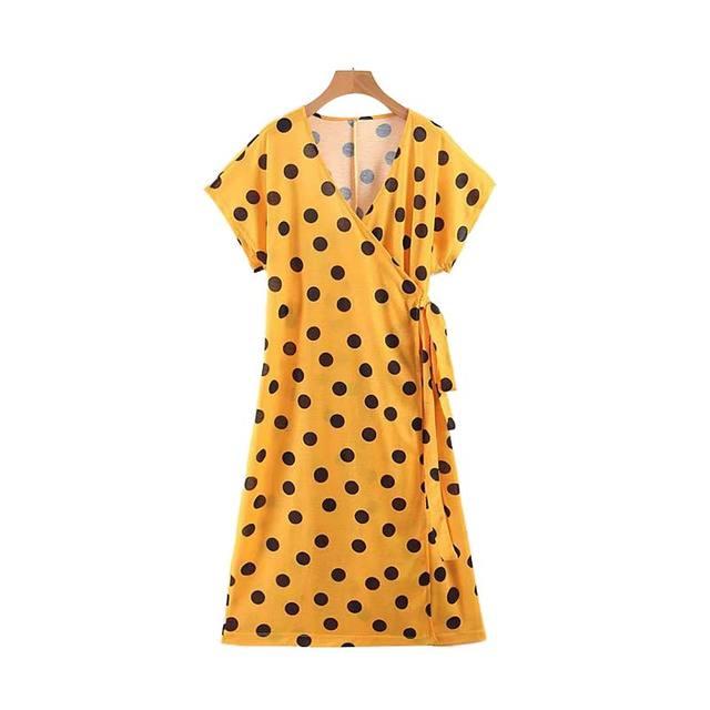 Women Yellow Dot Print V...