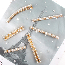 Hair Accessories Crystal Pearl Hair Clips For Women Girls Metal Hairpins Gold Barrettes цены