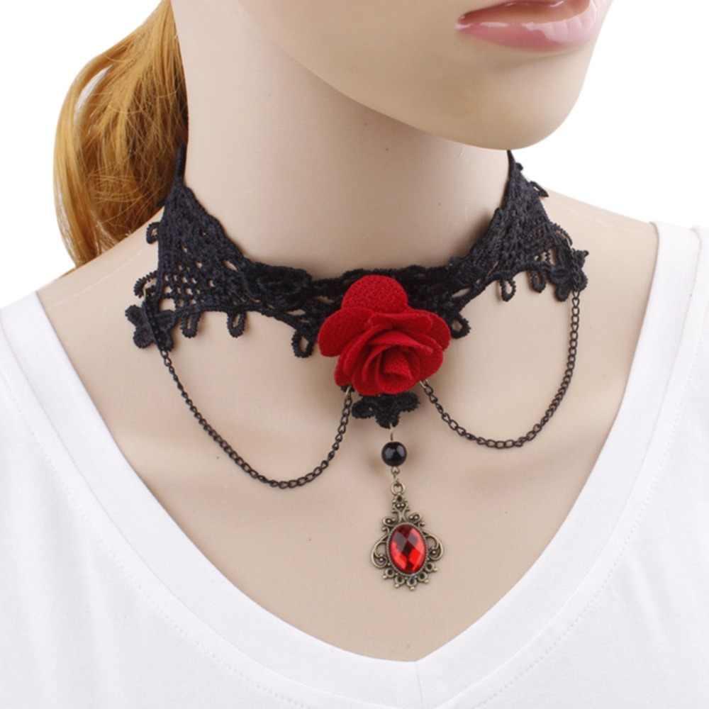 Hot sale Gothic Rose Red Black Lace Tribunal Strass Borla Colar Feito À Mão Para As Mulheres