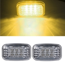2x LED Side Marker Turn Signal Light Blue Clear For Toyota 84-07 Land Cruiser