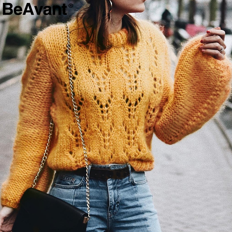 92aa673f38 BeAvant O ncek hollow out knitted sweaters Women lantern sleeve yellow pullovers  sweater 2018 Casual loose