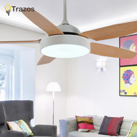 TRAZOS Practical LED Ceiling Fan For Low Ceiling Modern Fan Lights Remote Cooling Ceiling Fans Indoor Lighting Fan Lamps Fixture