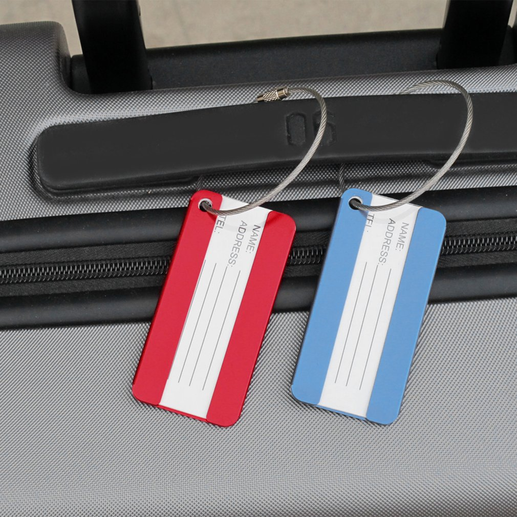 Luxury Aluminium Alloy Travel Luggage Tag Baggage Suitcase Bag Name Address ID Label Travel Tag Identity Card Gift