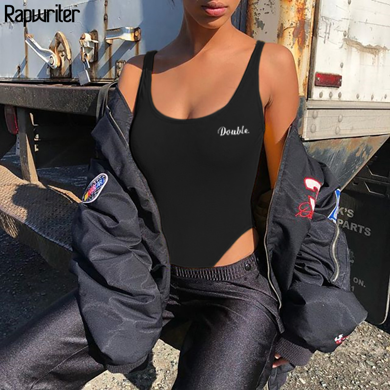 Rapwriter Casual Skinny Letter Sexy Bodysuits Women 2020 Summer O-Neck Sleeveless Bodycon Sheer Open Crotch Tank Bodysuit White