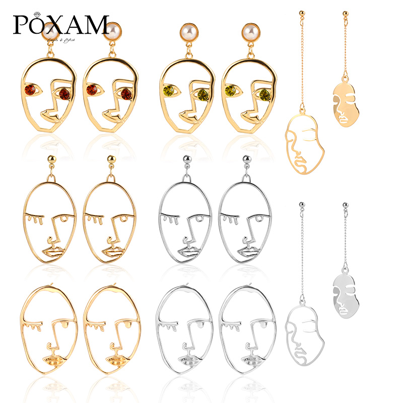 Vintage Abstract Creative Human Face Drop Earrings 2019 For Women Fashion Geometric Pearl Crystal Female Wedding Party Jewelry