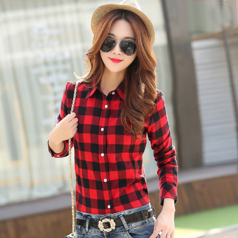 Plaid Shirt Women New 100% Cotton Long Sleeve Casual Flannel Shirts - Women's Clothing - Photo 5