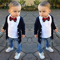 children sets baby clothing set boy beautiful boys costume 3 pcs. set preppy style blouse + shirt + jeans + bow tie suit