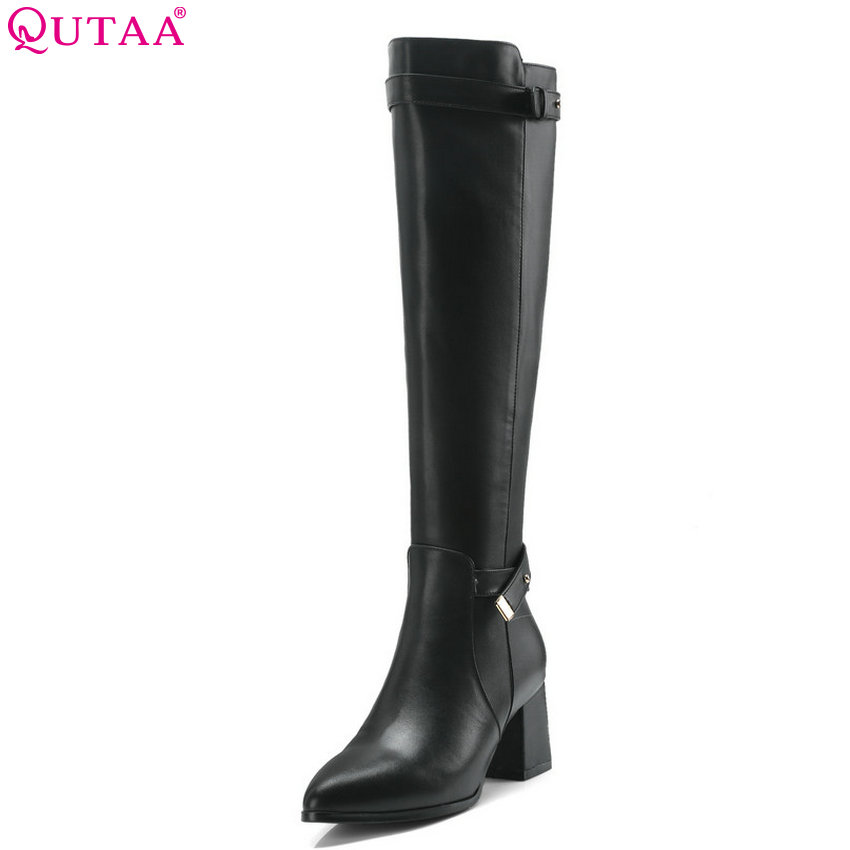 QUTAA 2019 Cow Leather +pu Fashion Women Knee High Boots Platform Zipper All Match Square High Heel Women Boots Big Size 34-39