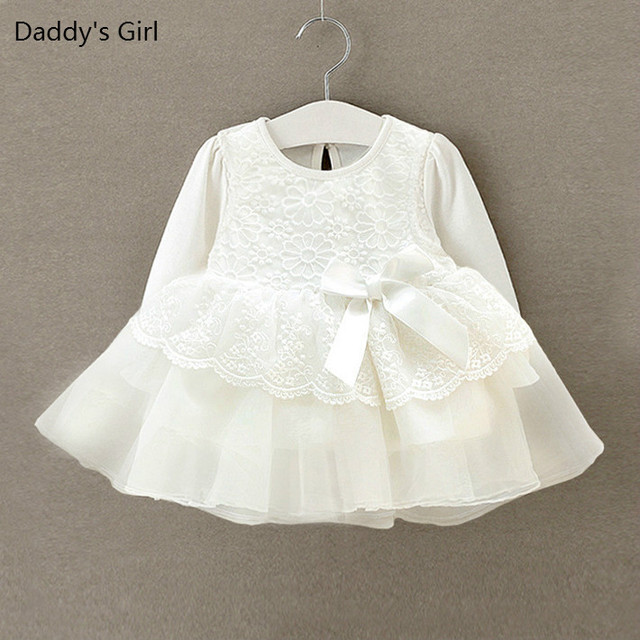 Baby Dress Girl Clothes Lace Long Sleeve Wedding Christening Gowns Dress for Infant Princess Girls Dresses for Newborn