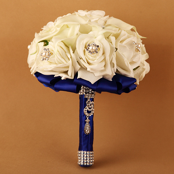 High Quality PE Artificial Silk Rose Flower Ball table decor Bridal Wedding Bouquet with rhinestone brooch and pearl decoration thumbnail