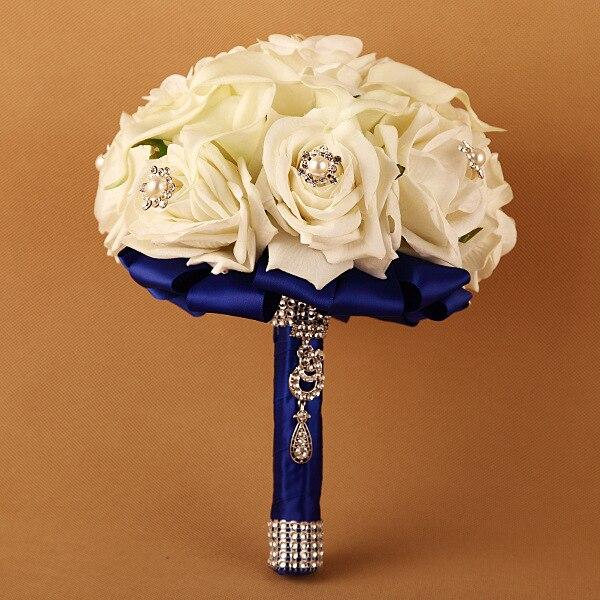 Haute qualité PE artificielle soie Rose fleur boule table décor mariée mariage Bouquet avec strass broche et perle décoration