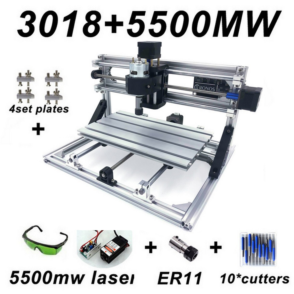 Máquina de Gravura CNC3018 ER11 com 500 mw 2500 mw 5500 mw Cabeça Madeira Router PCB Fresadora Máquina de Escultura Em Madeira DIY de Mini CNC