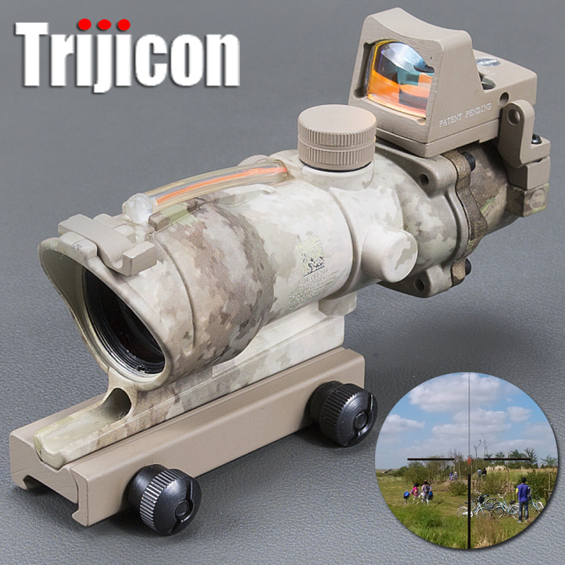 Trijicon Acog 4x32 Red Fiber Source Real Fiber Scope W/ Rmr Micro Red Dot Sight Marked Version Hunting Optics Riflescope trijicon acog 4x32 red dot sight scope tactical hunting scopes real green red fiber riflescope optics for rifles