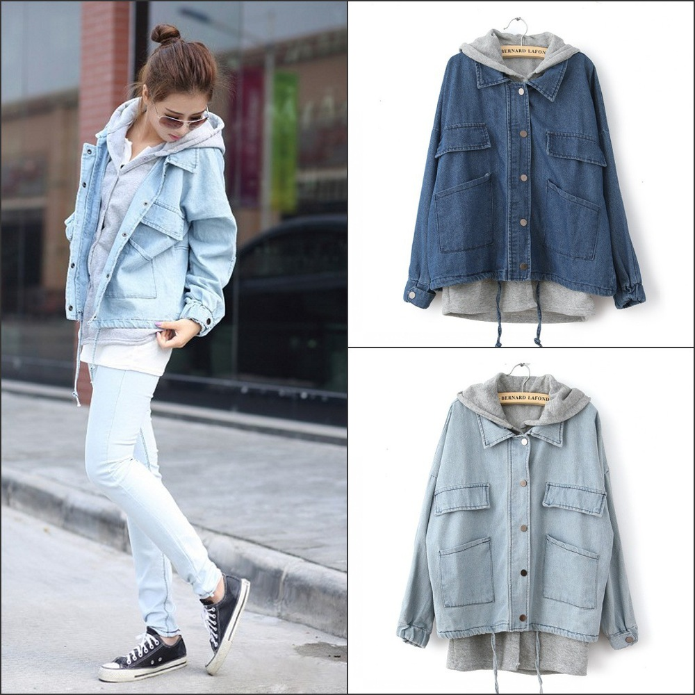 Popular Ladies Hooded Denim Jacket-Buy Cheap Ladies Hooded Denim ...